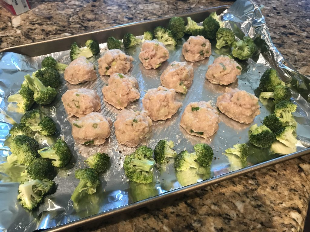 Sheet Pan Chicken Meatballs and Charred Broccoli