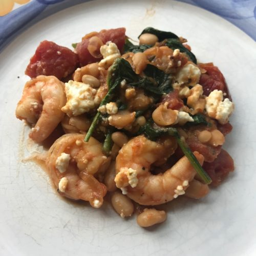 Shrimp, White Bean, and Feta Skillet